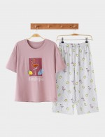 Magic 2 Pieces Cartoon Calf-Length Nightwear Cotton For Girl