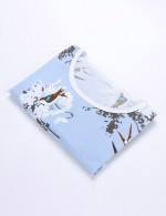 Blue Short Sleeves Round Neck Mini Print Nightwear Set Big Size Maximum Comfort