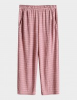 Bewitching Pink Stripes Calf Length Plus Size Sleepwear Pants Nightwear