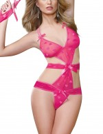 Aphrodisiac Pink Sling Cut Out Mesh Bow-Knot G-String Teddy Images