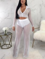 Captivating White Hooded See-Through Long Sleeves V-Neck Suit