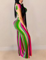 Striking Pink Stripe Print High Waist Self-Tie Pants Set Simplicity