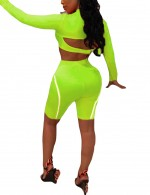 Glorious Green Buckle Long Sleeves High Wasit Shorts Suit Sports