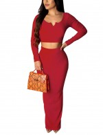 Durable Red Solid Color V-neck Midriff Skirt Suit Elasticated
