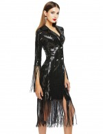 Fascinating Black Glitter Plunging Tassel Cuffs Bandage Dress For Upscale