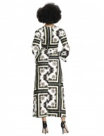 Frisky Black 3/4 Sleeves Square Towel Printed Dress Latest Styles