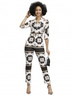 Black Square Towel Printed 3/4 Sleeves Rompers Feminine Grace