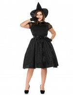 Black Plus Size Tie  Witch Costume Short Sleeve On-Trend Fashion