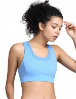 Blue Scoop Neck Wide Straps Sports Bra For Girls