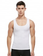 White Men's Tank Shaper Wide Straps Seamless U-Neck Intant Shaping