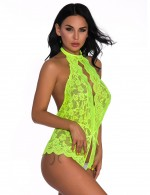 Passionate Green Open Crotch Halter Neck Backless Lace Teddy All Over