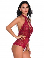 Cozy Wine Red Flower Mesh Tedddy Open Crotch Backless Slimming Style