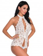 White Teddy Backless Halter Neck Hollow Lace Ideas For Pinterest