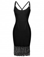 Suave Black Tight Bandage Dress Sling Tassel Hem Feminine