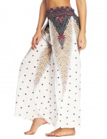 Simplicity High Waist African Printing Slit Pants Preventing Sweat
