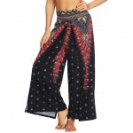 Modest Dot Printing Wide Legs Slit Pants Superior Comfort