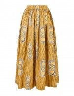 Nicely Yellow Off Shoulder Crop National Print Skirt Suit Modern Fashion