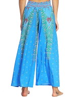 Utility High Slit Wide Legs Pants Digital Printing Casual Women