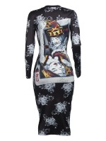 Noticeable Gray Ethnic Print Bodycon Dress Full Sleeves Ladies Fashion