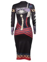 Gorgeous High Waist Round Collar Africa Paint Dress For Traveling