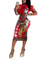 Colorful Red Long Sleeves African Print Midi Dress Cheap Fashion Style