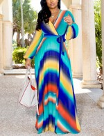 Long Sleeve Colorful Print Chiffon Maxi Dress