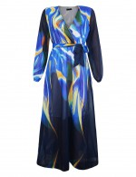 Large Size Chiffon V Collar Maxi Dress