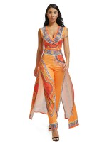 Snug Fit Orange Deep V-Neck Ethnic Printing Jumpsuit Garment