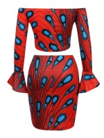 New Design One Shoulder African 2 Pieces Mini Dress