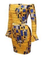 Long Sleeve One Shoulder African Mini Dress Set