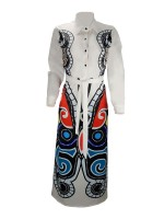 Catching White Deep V Neck African Print Maxi Dress Online Fashion