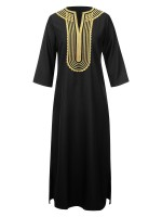 Slouchy Black Embroidery Maxi Dress 3/4 Sleeve For Party