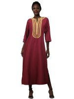 Daring Wine Red V-Neck Side Slit Embroidery Maxi Dress For Girls