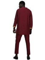 Shop Wine Red Stand-Up Collar Top Full Lenth Pants Loose