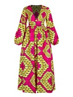 Appealing Bubble Sleeve Maxi Dress Digital Print Womens Fashion
