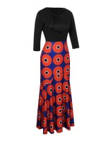 Desirable Round Print Wave Detail Maxi Dress Sensual Curves