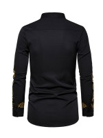 Fiercely Black Stand Neck Button Hot Stamping Shirt For Party