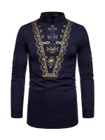 Innovative Purplish Blue African Print Stand Collar Man Shirt Glamorous Look