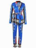 Enthralling Blue Ethnic Printed Two-Piece Tie Waist National