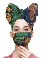 Striking Contrast Color Headscarf Three Tiered Mask Delightful Garment