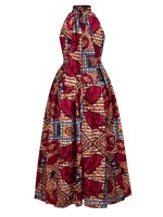 Likable Red African Print High Neck Maxi Dress All-Match Fashion
