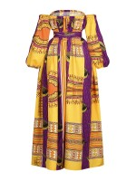 Marvelous Yellow High Split Bandeau Dress African Print Women Clothes