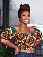 Unvarnished Green Tube Crop African Top Puff Sleeves Vacation Time