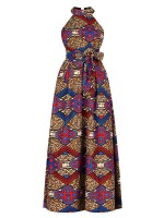 Inspired Red Ethnic Print Maxi Dress Sleeveless Fashion For Women