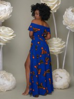 Glamourous Blue Exotic Paint Short Sleeve Maxi Dress For Every Occasion
