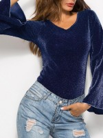 Matching Dark Blue High Cut Flared Sleeve Bodysuit All-Match Fashion
