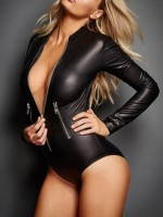 Stunning Black PU Zipper Bodysuit Mock Neck Full Sleeve Slim Fit