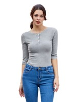 Ultra Contemporary Light Gray Half Sleeve Bodysuit Crew Neck Button