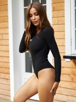 Passionate Black Round Neck Bodysuit Long Sleeves Chic