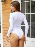 Sultry White Bodysuit Letter Print Round Collar Modern